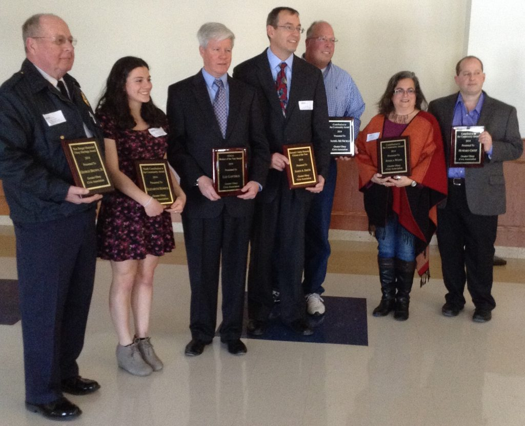 2014 GOCA Award Winners Left to Right George Brown, Elizabeth Homick, Lee Lofthus, Jim Smith, Dan McNickle, Jessica Weiss, Howard Greif (not pictured, Amy Harbison)